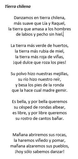 Tierra chilena, Gabriela Mistral, dicción