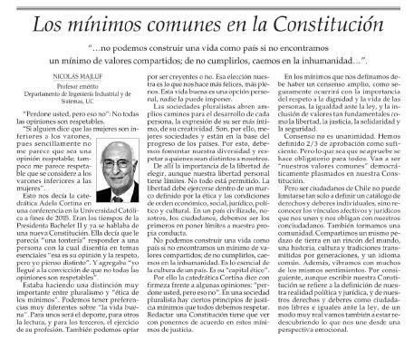 Los mínimos comunes en la constitución